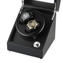 Black 2+0 Mechanical Self-Winding Watch Winder High Quality Winding Box Silent Motor Case Luxury Automatic Shaker Storage Boxes luxury automatic watch winding box single holder silent motor storage box winder case for mechanical self wind clocks with plug