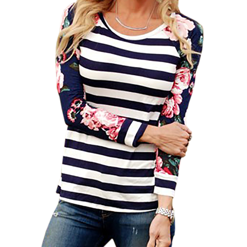Women Harajuku T Shirt Striped Tshirts Female Autumn T Shirts 2017 Cute Floral Print Tops Tees Long Sleeve Plus Size Femme in T Shirts from Women 39 s Clothing