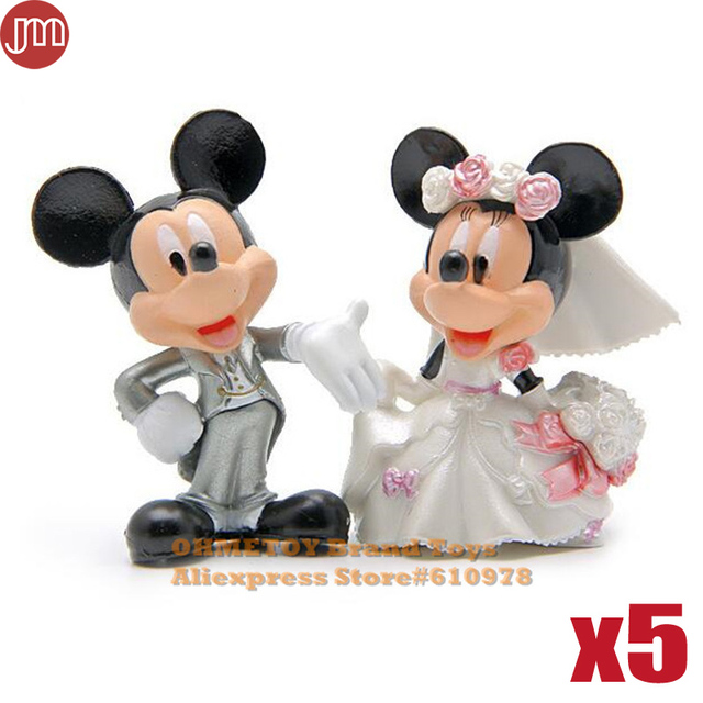 Mickey And Minnie Wedding.Us 19 99 Ohmetoy 5 Sets 10pcs Mickey Minnie Toys Wedding Decoration Propose Marriage Model Doll 6 7cm Cake Toppers Brinquedos In Action Toy