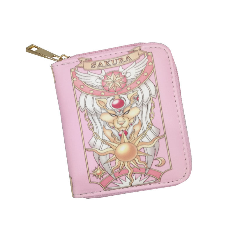 Magic Mini Card Captor Sakura Cheap Women Wallets Short Students Girls Coins Purse Dropship Simple Pink Wine Red Leather Wallets