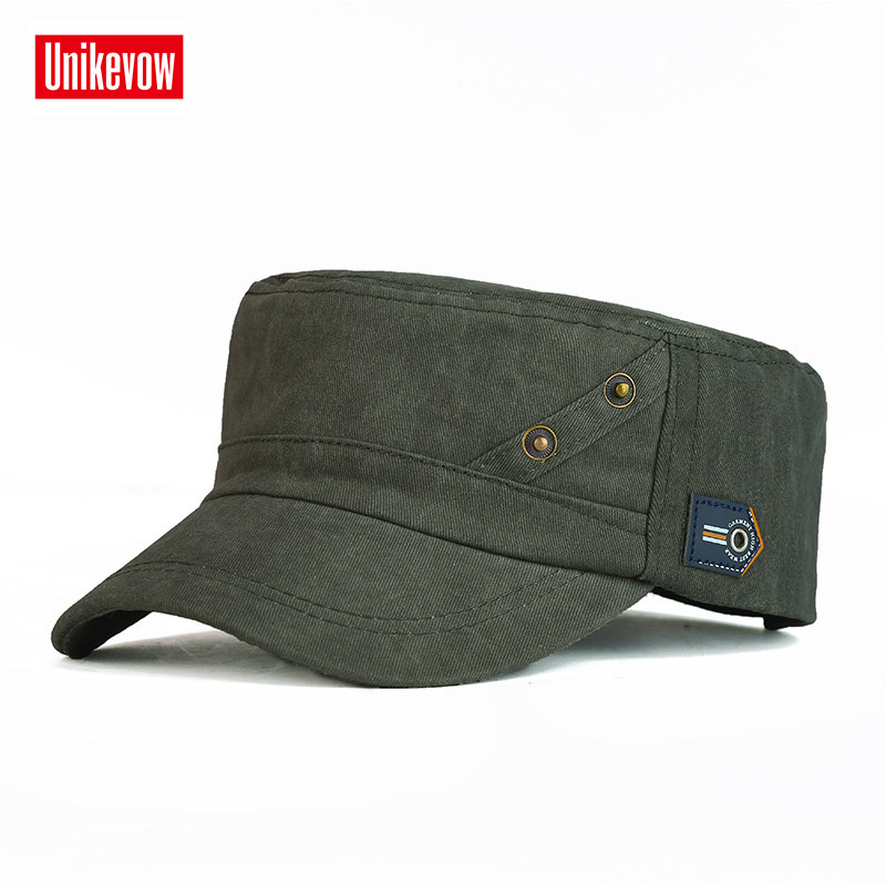UNIKEVOW 100% Cotton Army Cap 2 Bottons Flat Top Hat For Men  Military Cap Outdoor Hat Sport Cap