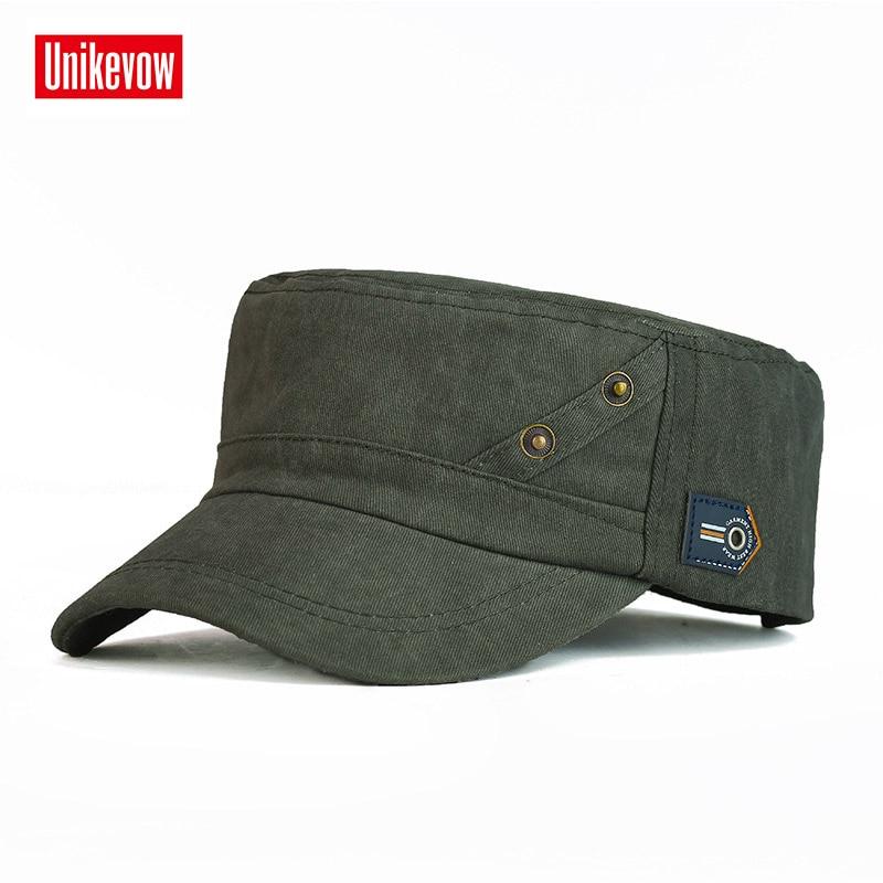 f9cfb71a5f9b UNIKEVOW 100% gorra de algodón del ejército 2 bottones sombrero plano  superior para hombres gorra ...
