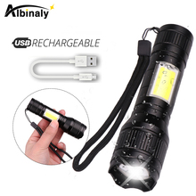 Waterproof Rechargeable LED Flashlight T6 LED + COB 3 lighting modes Torch Support zoom Side COB lamp Suitable for camping,etc.