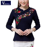 2017 Spring Summer Ethnic Tunic T Shirt Women Tops Soft Casual Embroidery Vintage Chinese Style Women