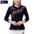 2017 Primavera Verão Túnica Étnica T Shirt Mulheres Tops Casuais Macios Bordado Do Vintage Estilo Chinês camisa camisetas t das Mulheres femme