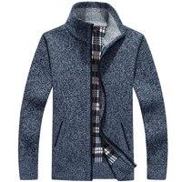 Men's Knitted Warm Sweaters Cardigans Turtleneck Winter Wool Sweater Fashion Cardigans Male Loose Zipper Coat Plus Size 3XL Men