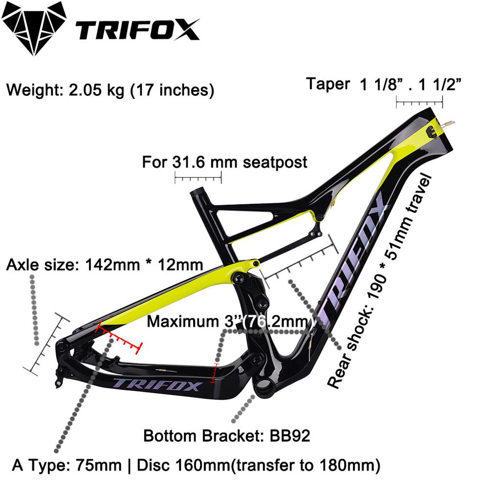 TRIFOX Carbon mtb Frame 29er Carbon Disc Brakes MTB Bicycle Frame T1000 UD Matte Carbon Frame in Bicycle Frame from Sports Entertainment