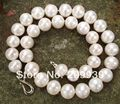 Hot selling> S3373 Large infrequent 12-14mm white natural pearl necklace 925s clasp jewelry -Bride jewelry free shipping