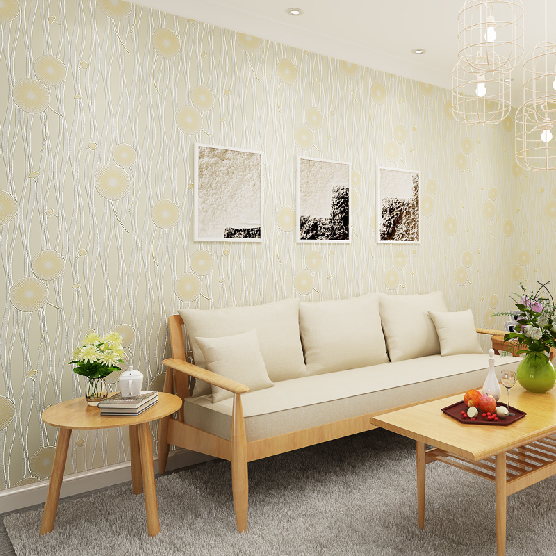 Modern Korean Style Rustic Dandelion Wallpaper for Bedroom Kids Room Walls Non Woven Striped Wall Paper Roll Mural Pink Green rustic wallpaper 3d stereoscopic wallpaper roll non woven pastoral wallpaper for walls bedroom wall paper pink for living room