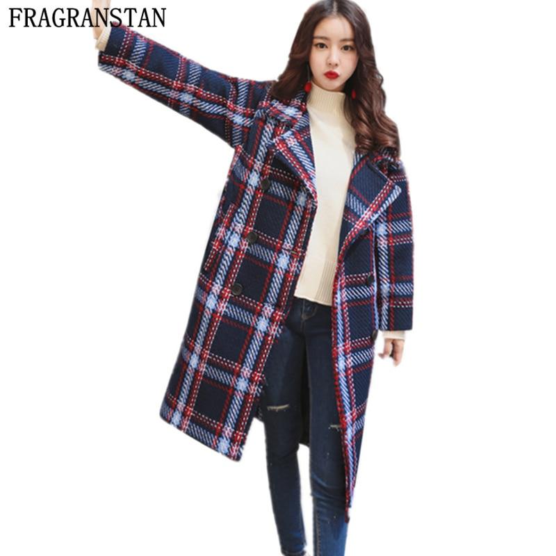 2017 Women New Navy Blue Lattice Thicken Warm Woolen Coat Autumn Winter Female Fashion Loose Sashes
