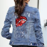 Denim Jacket Women Embroidered Oversize Jeans Jackets lips Sequins Coat