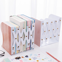 Wood Print Telescopic Book Stand Adjustable Documents Holder Metal Textbook Bracket Bookcase Stationery
