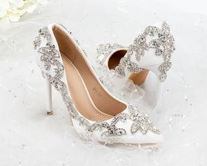Image 3 - נשים נעלי עקבים גבוהים חתונה דק עקבים לבן יהלום נוצץ שמלת ערב נעלי כלה נעלי גביש משאבות למסיבה