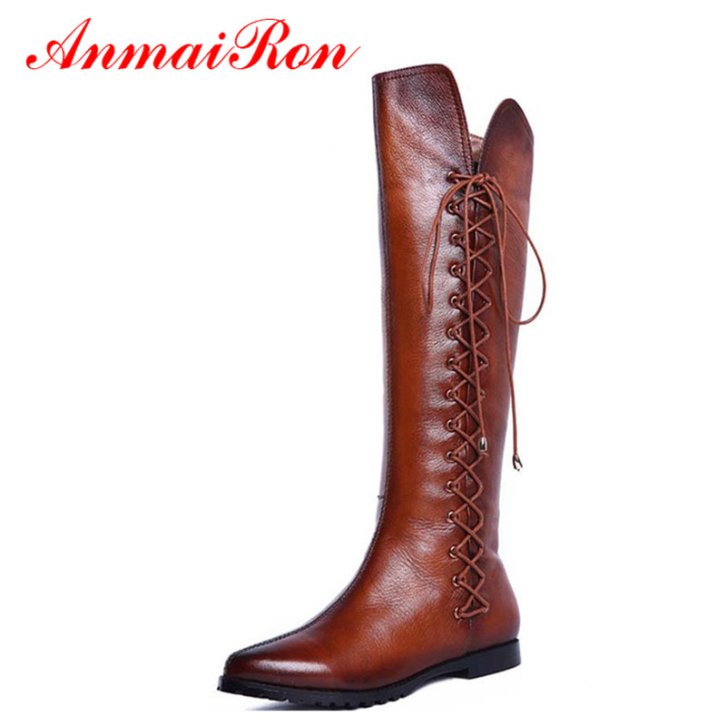 ФОТО ANMAIRONt British Style Knee High Boots Low Heels Shoes Women Sexy Pointed Toe Casual Shoes Lace Up Platform Motorcycle Boots
