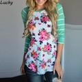 Women Casual Long Sleeve Autumn Cotton T shirt Floral Patchwork Slim 2016 Spring Autumn Striped Tee Tops Plus Size U2