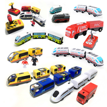 Kids electric train toy magnetic track compatible with Brio wooden childrens educational