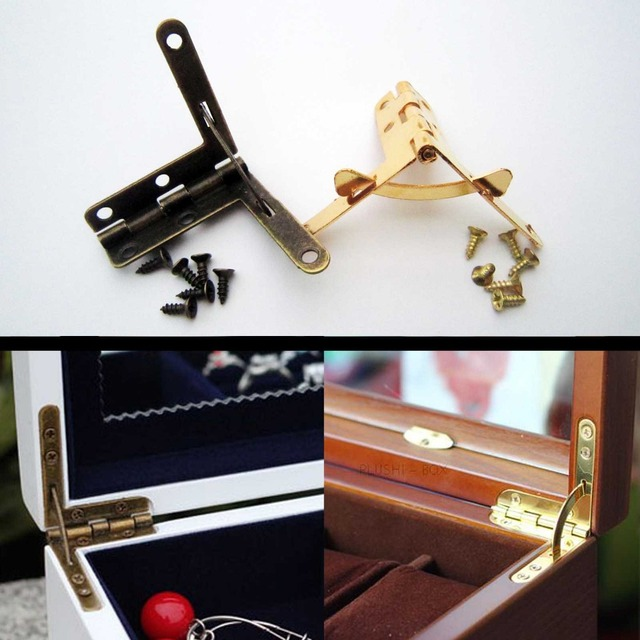 12X Golden Antique Brass Jewelry Gift Wine Case Watch Box Wood Lid L 90degree Support Spring Hinge Display 32x30mm