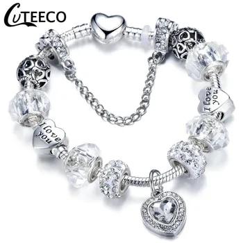 CUTEECO Charms Bracelet Bangle For Women Crystal Flower Fairy Bead Jewelry 2
