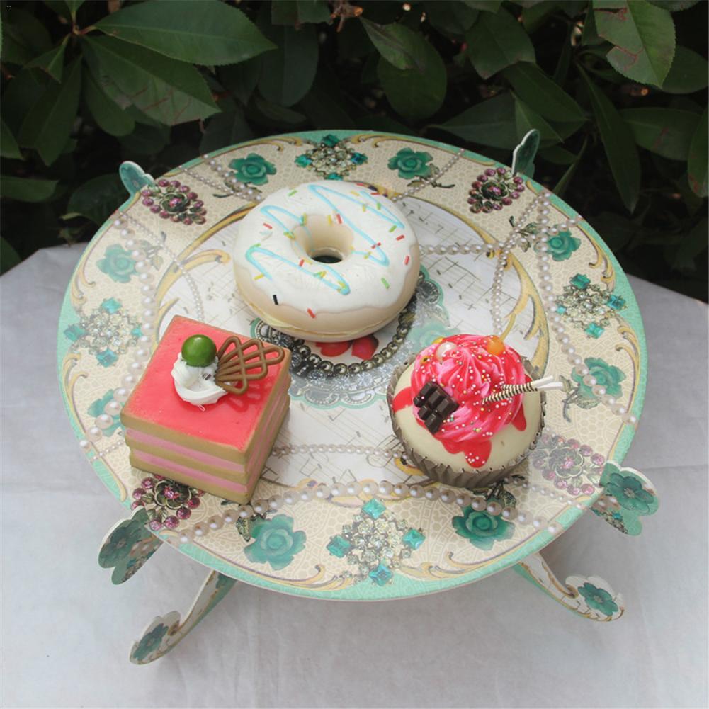 1 Layer 2 Sides Cardboard Birthday Cake Rack Cupcake Stand Floral