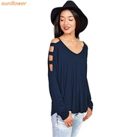 Women Summer Fashion V Neck Sexy Strapless Hollow Out Open Shoulder Top Shirt Plain