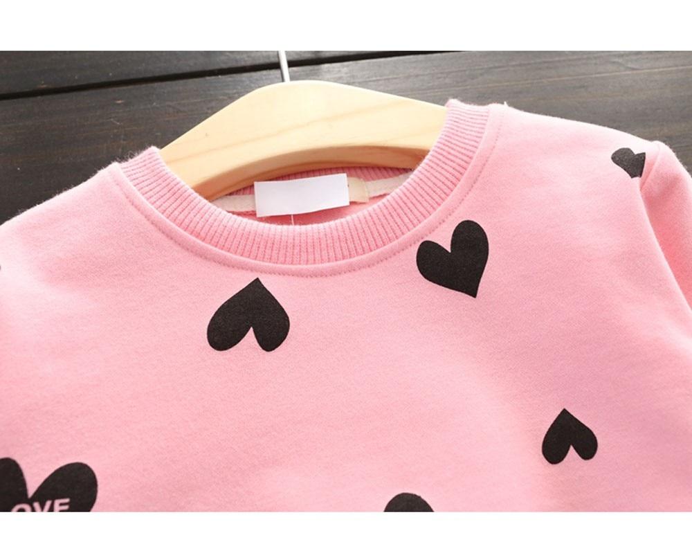 Toddler Kids Girls Love Heart Long Sleeve Shirt Sweater+Pants Skirt Sports Suit