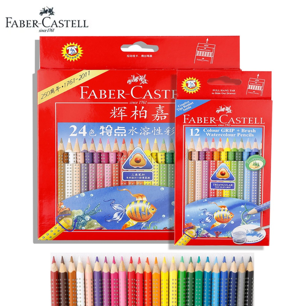 цена на Faber-Castell Art GRIP Watercolor Pencils Set with Paintbrush 12/24 Coloured Pencils Drawing, Art for Beginners & Expert Artists