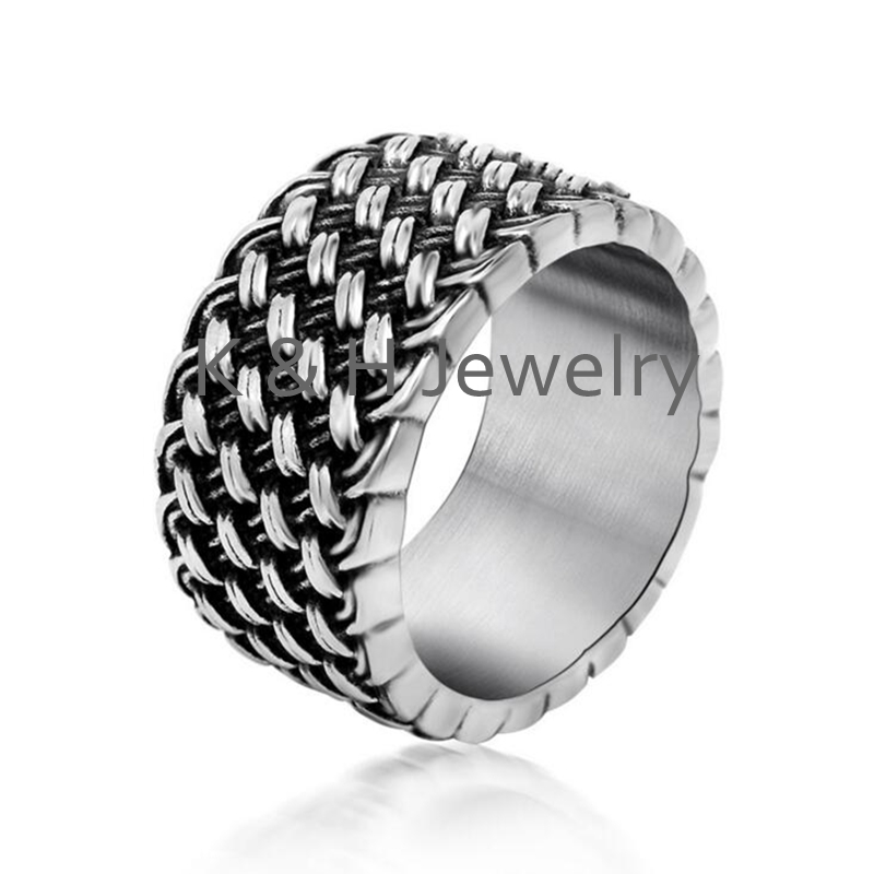 US Size 7 12 Sales Retro Cool Weaved Rings For Men Famous