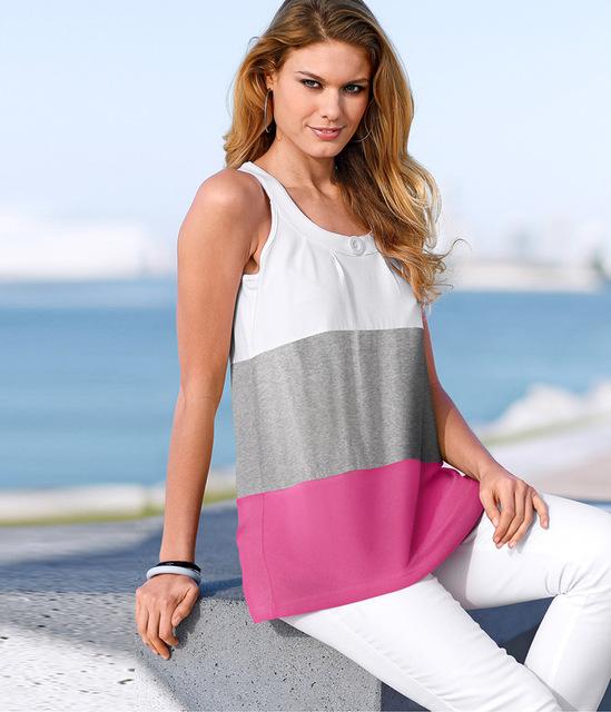 2016 Moda Verão Colete T-shirt Patchwork Praia Tanques Tops Sexy Camisetas