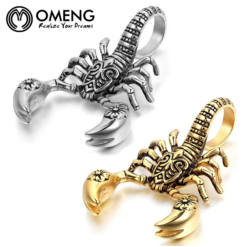 OMENG Scorpion Pendants Necklaces Gold Silver Stainless Stees