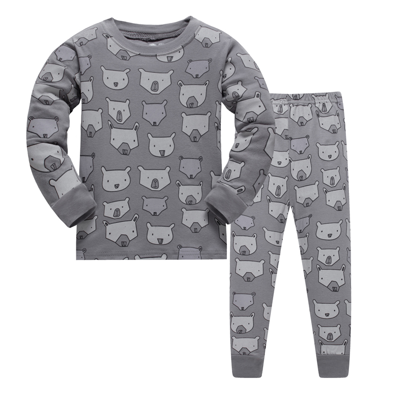 LUCKYGOOBO Kids   Pajama     Set   Boys Bear pattern Sleepwear Girls 100% cotton   Pajamas     Set   Children Cartoon pyjama Baby Clothing   Set