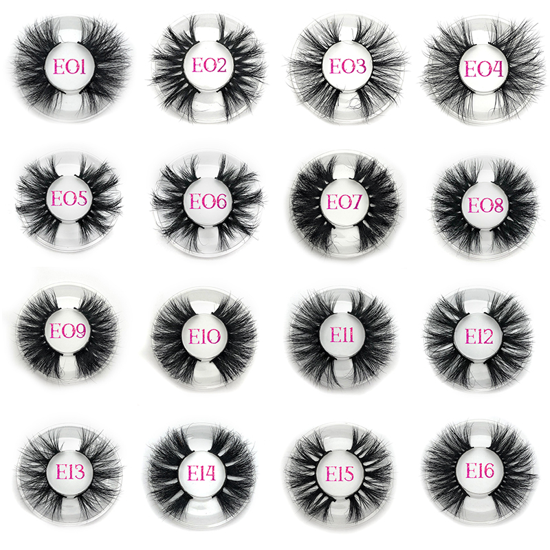 Mikiwi 25mm False Eyelashes Wholesale Custom Packaging Label Makeup Dramatic Long 16 Styles Thick Strip 25mm 3D Mink Lashes