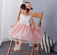 1PC Pink White Bowknots Baby Girl Dress Christening Princess Wedding Party Newborn Baptism Gown Outfit