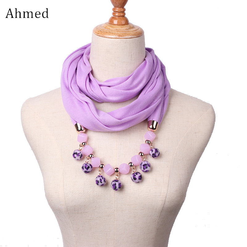 Ahmed New Design Chiffon Hairball Pendant Beads Scarf Necklace Women Fashion Ethnic Head Scarves Collar Choker Necklace Jewelry 2018 women scarf muslim hijab scarf chiffon hijab plain silk shawl scarveshead wrap muslim head scarf hijab
