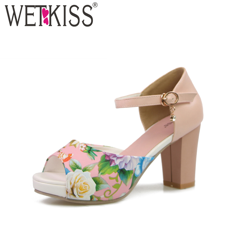 WETKISS 2018 Mary Jane Sandals Fashion Thick Heels Ankle Strap Flower Print Color Matching Peep Wedding Sandals Platform Sandals
