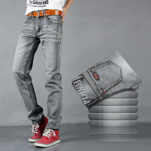 2016 European  styles Straight biker jeans men famous brand denim tide pants men's Grey white Skinny men jeans MB16249