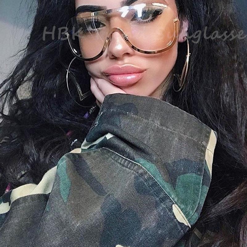 Nyaste stora sköldglasögon ram Oversize Alloy One Piece Sexiga Coola Solglasögon Kvinnor Gold Clear Eyewear Gradient Pilot Shades