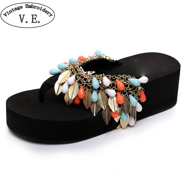 Women Summer Flip Flops Woman's Summer Footwear With Acrylic Beads Ladies Beach Shoes Girl's Fashion Sandalet Casual Shoes