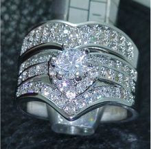 Size 6/7/8/9/10 Fashion jewelry Luxury  10kt white gold filled white AAA CZ Gem Simulated stones Women Wedding Ring set gift