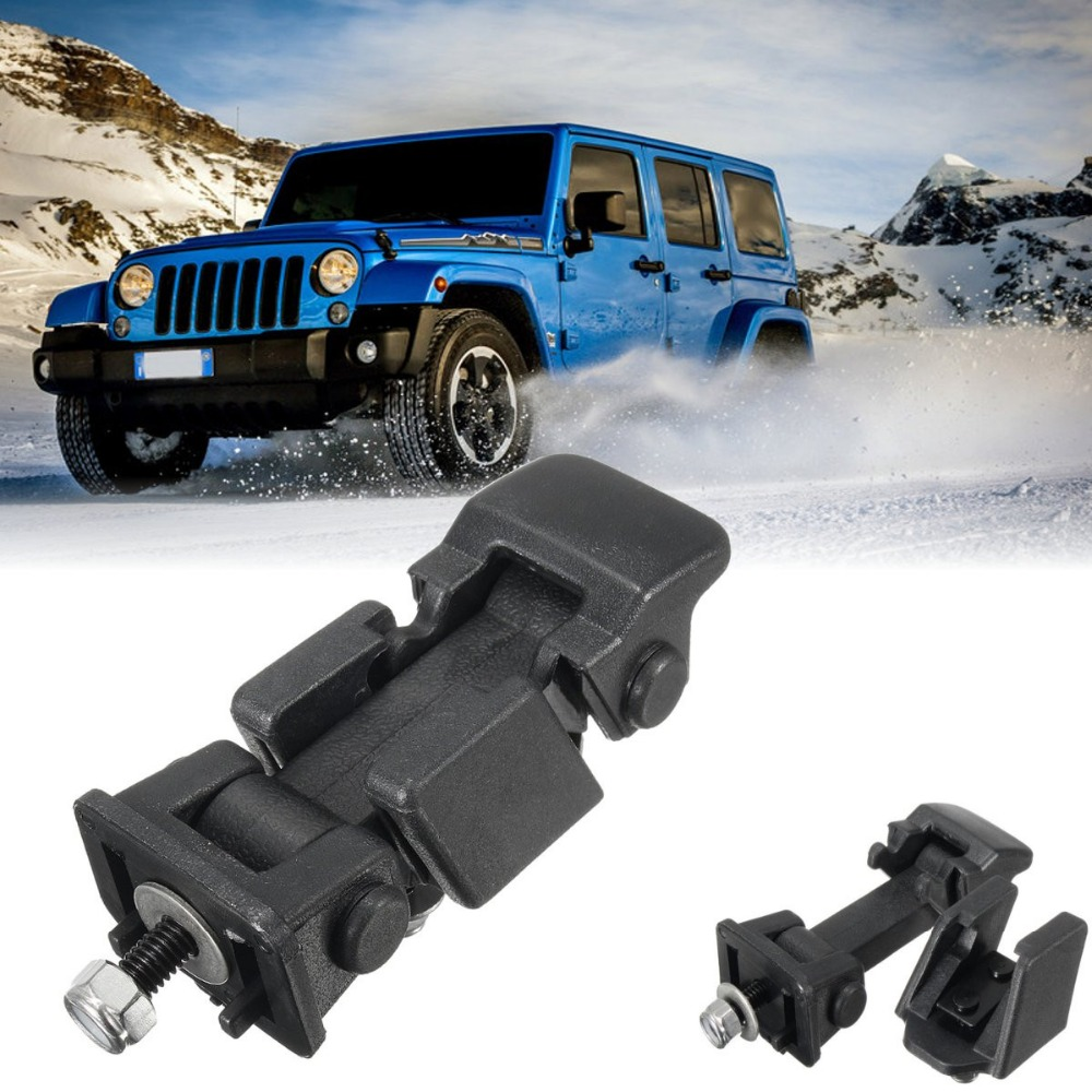 New 1 Set Black <font><b>Hood</b></font> Lock Bracket <font><b>Latches</b></font> Buckle Holder For <font><b>Jeep</b></font> /Wrangler 2007-2016 image