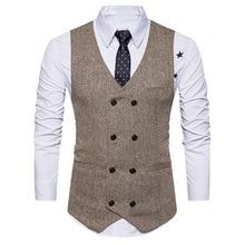 дешево!  Oeak весна осень мужская мода винтаж двубортный костюм жилет новый деловой костюм без рукавов Slim  Лучш�