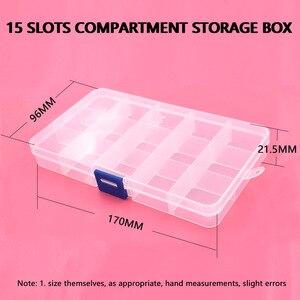 Image 5 - 5 stücke knöpfe ösen lagerung Einstellbare Kunststoff 10/15 Fach Lagerung Box Schmuck Ohrring Bin Fall Container Lagerung Boxen