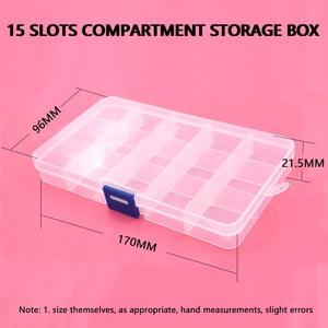 Image 5 - 5pcs 단추 eyelets 저장 조정 가능한 플라스틱 10/15 구획 저장 상자 보석 귀걸이 상자 상자 저장 상자