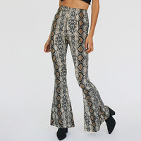 Autumn Winter Women High Waist Flare Pants 2017 New Casual Sexy Club Elastic Waist Print Wide