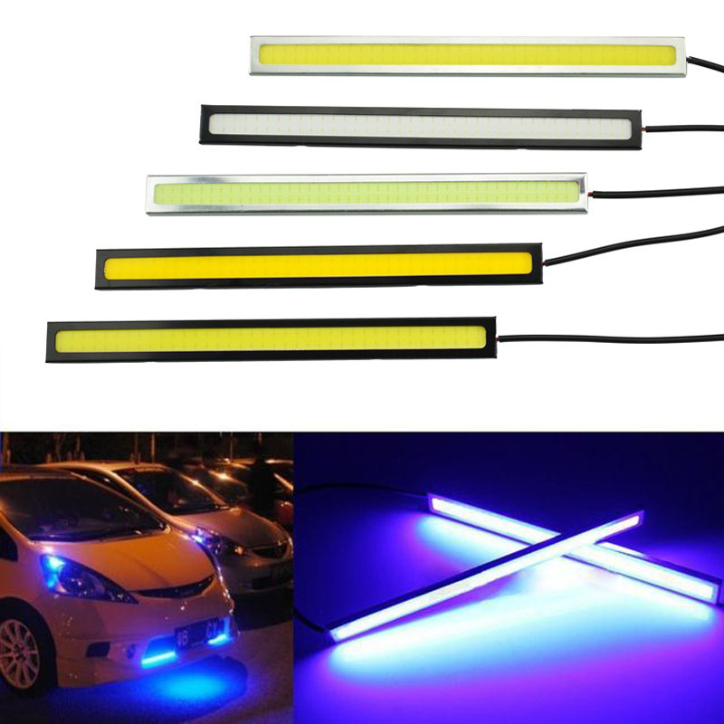 2pcs Car Driving Day Running Light Waterproof 17cm COB Day Time Working Lights Universal LED DRL Auto Lamp For Car Driving