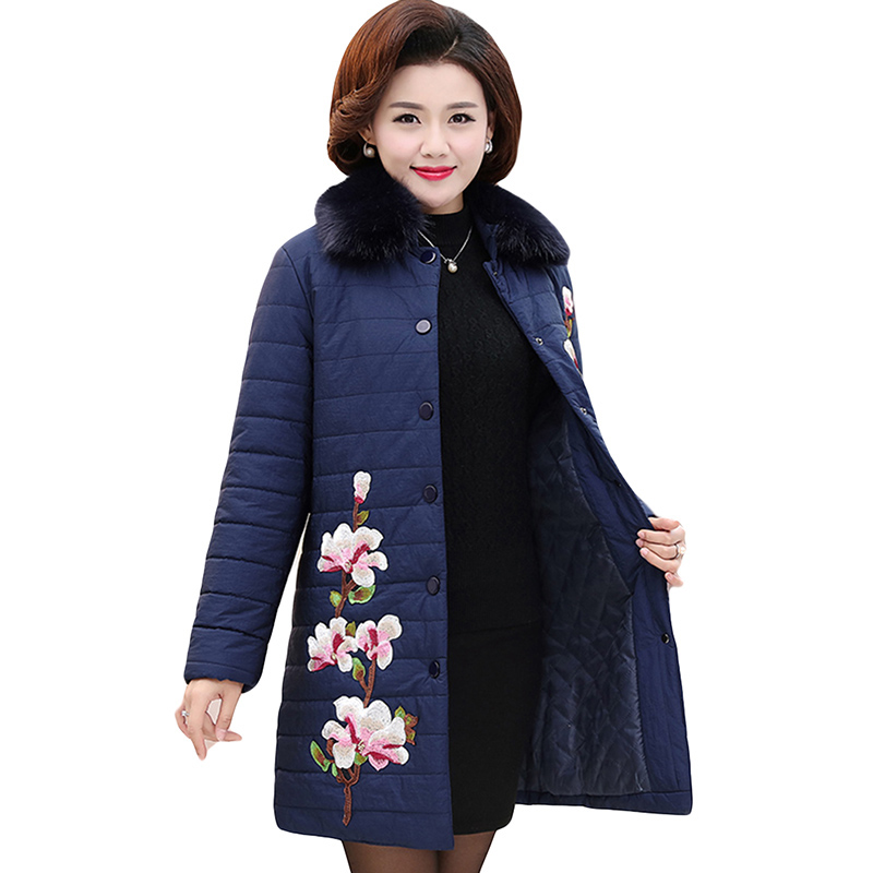 Plus Size 5XL Winter Jacket Women Middle-Age Down Cotton Coat Embroidery Fur Collar Cotton Outerwear Parka Wadded Jacket YP0659 gkfnmt winter jacket women 2017 fur collar hooded parka coat women cotton padded thicken warm long jacket female plus size 5xl