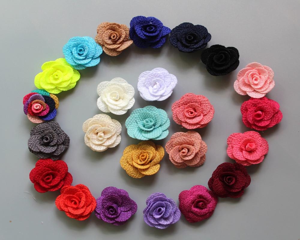 30pcs/lot New Arrival 2.5cm Mini Burlap Flowers Felt Back Fabric Rosettes DIY Flowers For Hair Accessories Girl Headbands