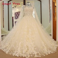 Angel Tree Champagne Wedding Dress With Long Cape Appliqued Flowers Korean Wedding Dress Lace Ball Gown