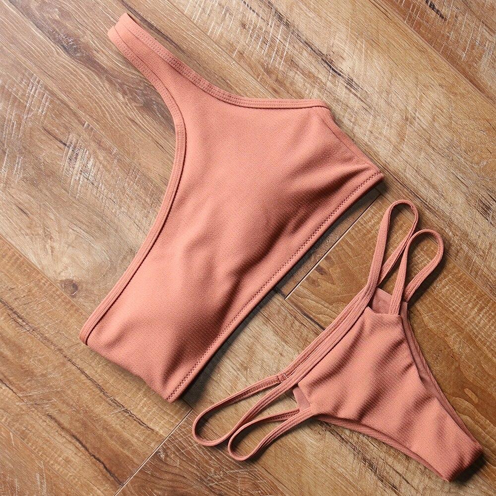 White & Red Swimsuit Bikini One Shoulder Women's Swimming Suit Swimwear Women Maillot De Bain Femme Bathing Suit Women 2018