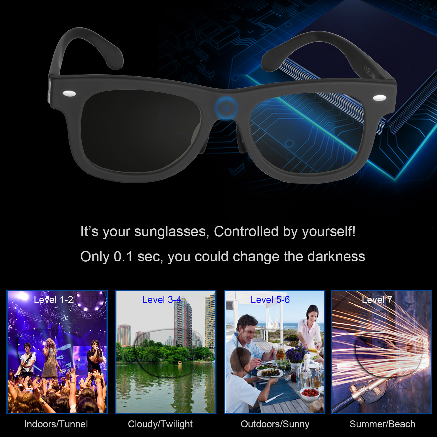 Sunglasses LCD Polarized Lenses Transmittance Adjustable Outdoors And Indoors