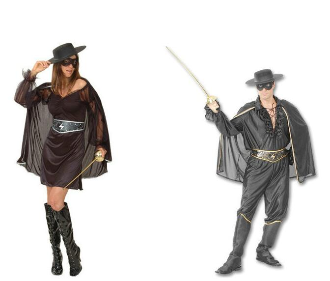 Adult/Kids Zorro Mask Bandit Costume outfit Highway Unisex Halloween Suit hat